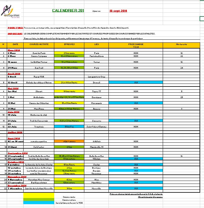 Calendrier VOA 09-2014