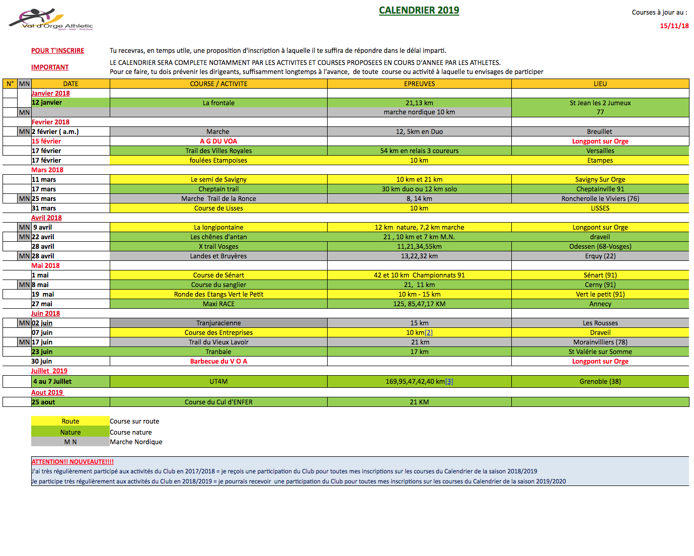 Calendrier Des Courses 2019.Calendrier Des Courses 2019 Val D Orge Athletic